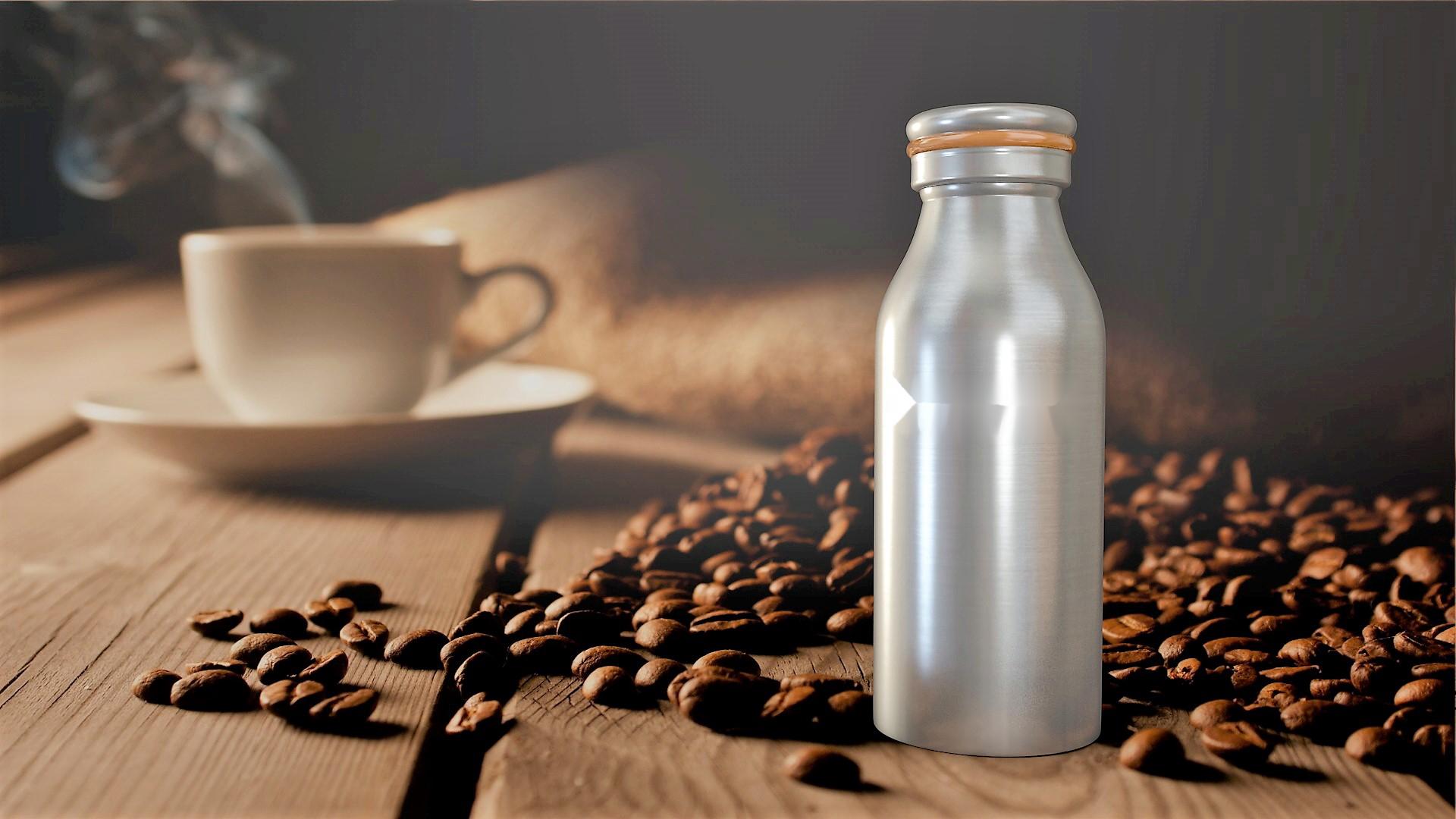 Werbeartikel: Bottle and coffee Edelstahl-flasche