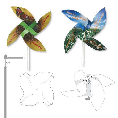 Werbeartikel: Windmühlen, Fahrrad-windmühlen,=Windmühlen-Bastelsets aus Karton