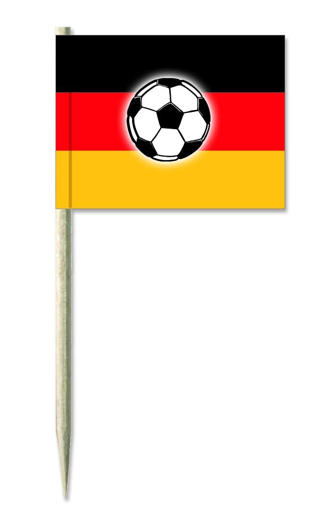 Werbeartikel: Minifahnen, Kostprobenpicker=Minifahnen Deutschland mit Ball