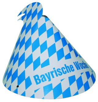 """Werbeartikel: Themendekoration Bayern ab Lager=Hütchen """"Bayrische Woche"""""""