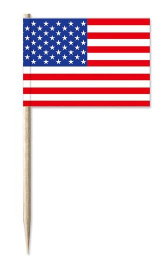 Werbeartikel: Minifahnen, Kostprobenpicker=USA Minifahnen,