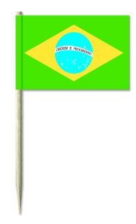Werbeartikel: Minifahnen, Kostprobenpicker=Brasilien Minifahnen,