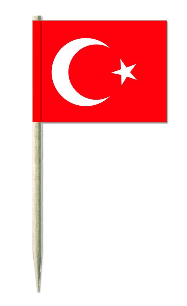 Werbeartikel: Minifahnen, Kostprobenpicker=Türkei Minifahnen,