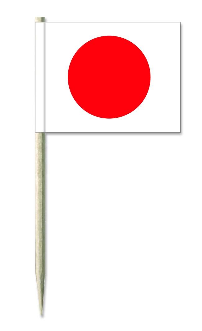 Werbeartikel: Minifahnen, Kostprobenpicker=Japan Holzpicker