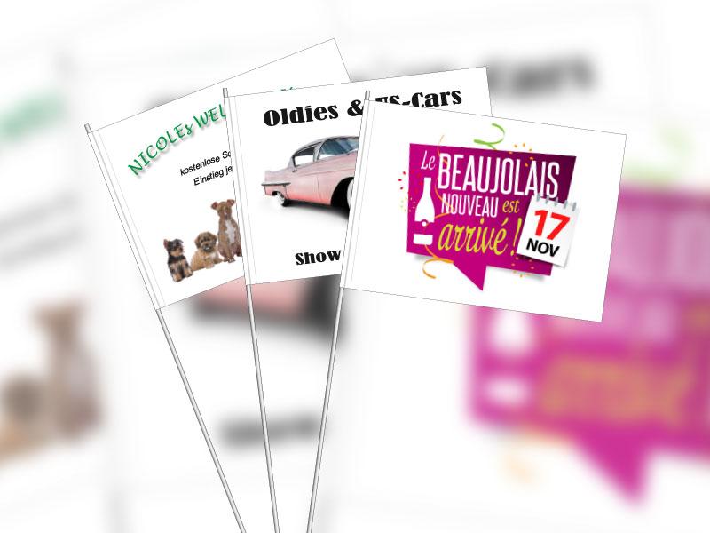 Werbeartikel: Partyartikel, Events-artikel,=Papier-fahnen ab Lager, Werbe Papierfahnen,