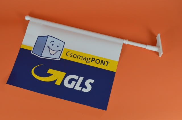 Werbeartikel: Kioskfahnen, Werbefahnen,=Kioskfahnen GLS,  Werbefahnen GLS,