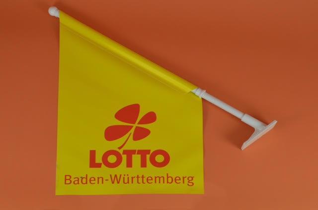 Werbeartikel: Kioskfahnen, Werbefahnen,=Kioskfahnen Lotto, Werbefahnen Lotto,