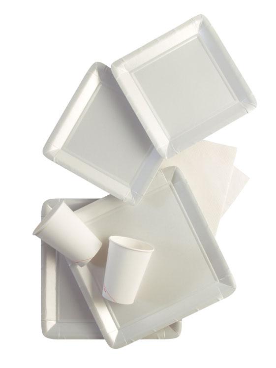 Werbeartikel: Viereckig Papp teller=Pappteller Imutt. - PM