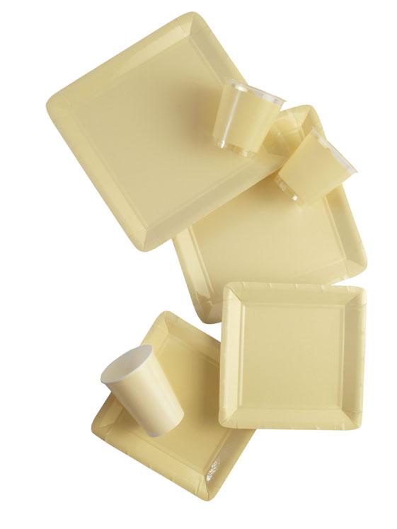 Werbeartikel: Viereckig Papp teller=Creme. Pappteller  - UF