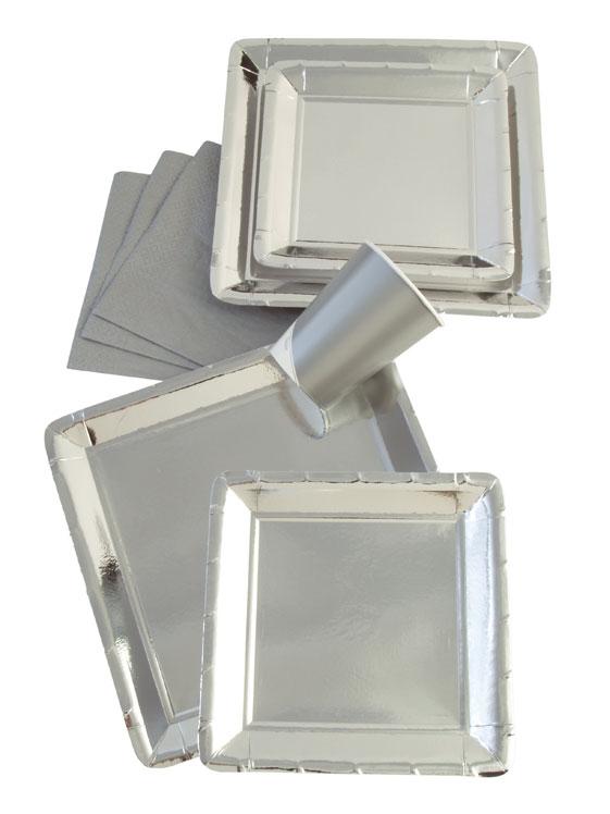 Werbeartikel: Viereckig Papp teller=Pappteller Silber Glanzend. - UA