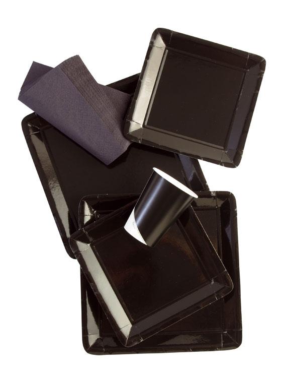 Werbeartikel: Viereckig Papp teller=Pappteller Schwarz, - TN