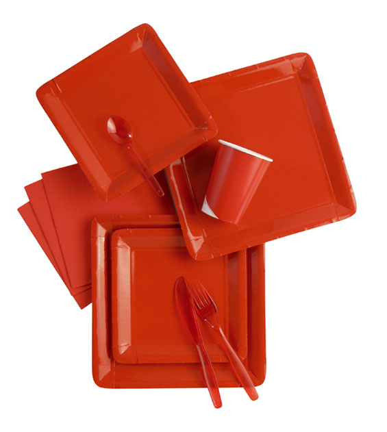 Werbeartikel: Rot. Pappteller -TC