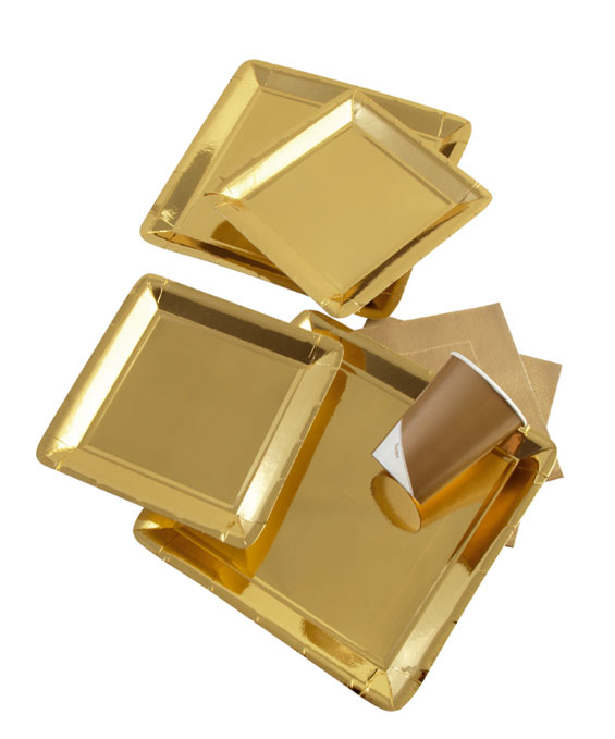 Gold pappteller party pappteller pappteller teller for Pappteller gold