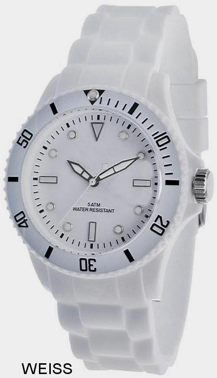 Werbeartikel: Silikon Color Watch Weiss