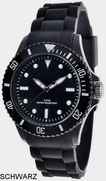 Werbeartikel: Silikon Color Watch Schwarz