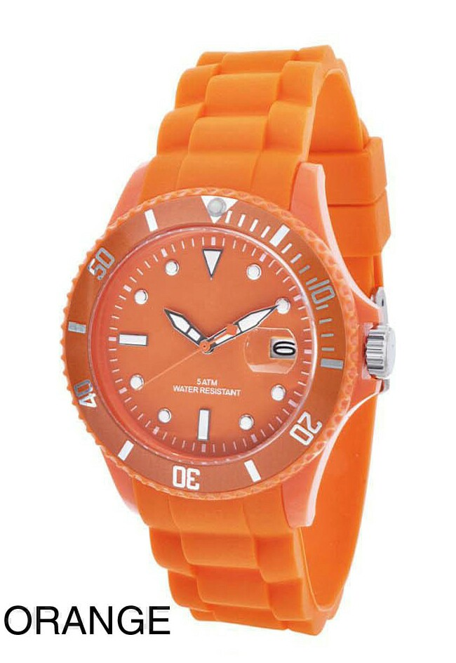Werbeartikel: Silikon Color-Watch Datumsuhrwerk Orange