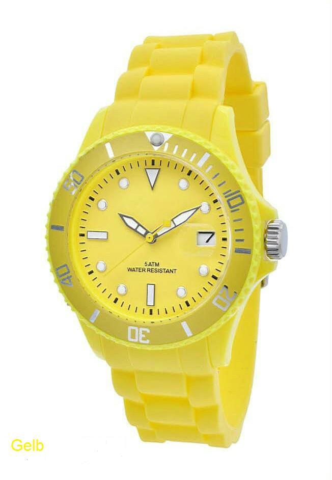Werbeartikel: Silikon Color-Watch Datumsuhrwerk Gelb,