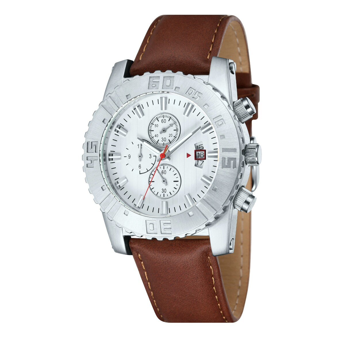 Werbeartikel: Chronographen Uhrwerk echtes Lederarmband.