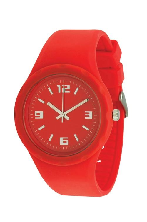 Werbeartikel: silikon armbanduhr rot