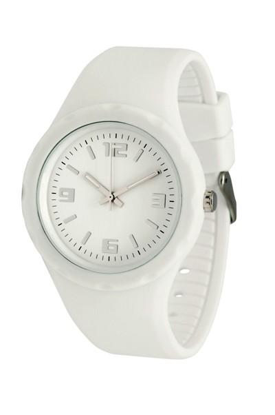 Werbeartikel: silikon armbanduhr Weiss,