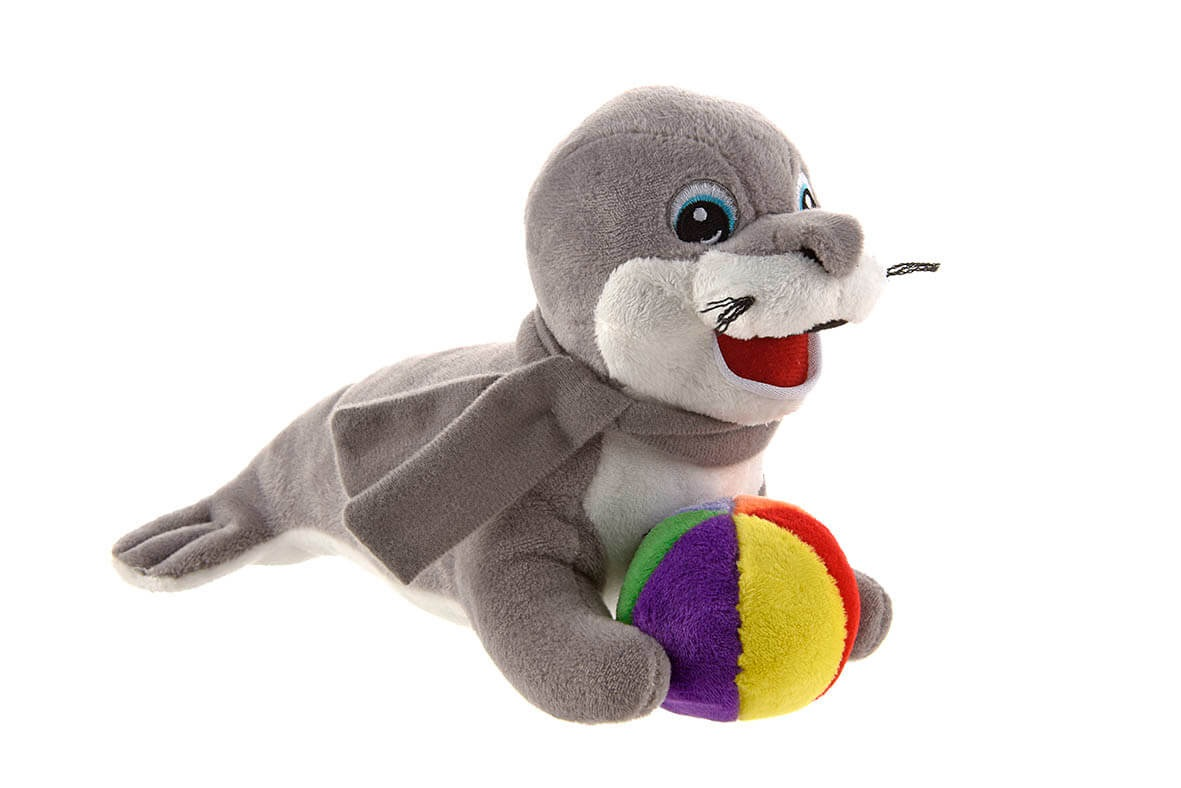 Werbeartikel: Spiel, Spass, Sicherheit=Plüschtier Seehund Siggi
