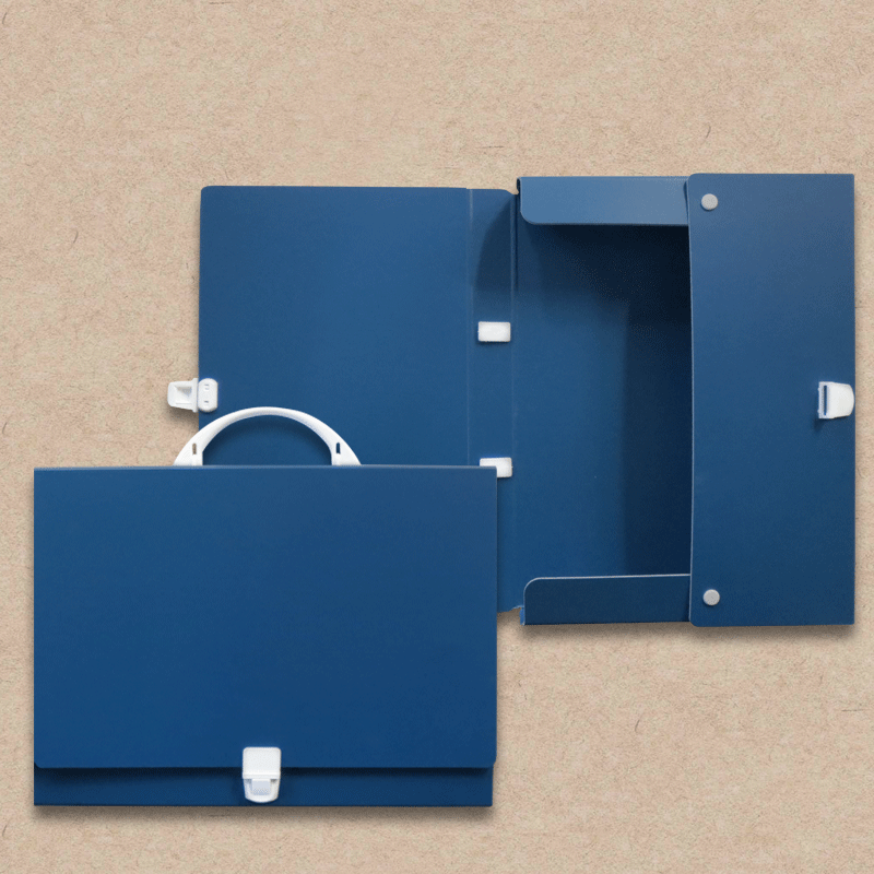 Werbeartikel: Koffer=Prospektkoffer aus Karton, blau