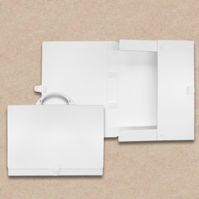 Werbeartikel: Koffer=Prospektkoffer aus Karton, weiß
