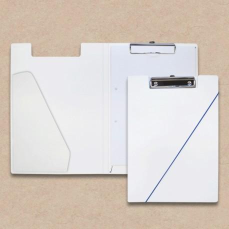 Werbeartikel: Klemmmappen=Klemm-mappe aus Karton weiss mit  Steckfach