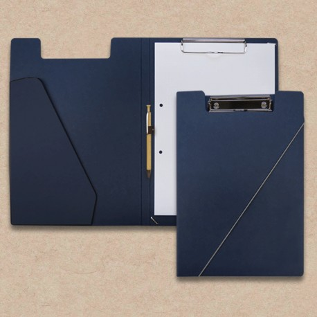 Werbeartikel: Klemmmappen=Klemm-mappen  dunkelblau mit Holz-Kugelschreiber und Steckfach Blau