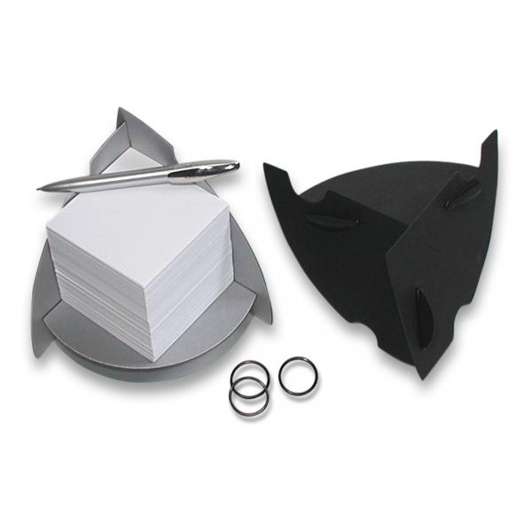 Werbeartikel: Zettelbox,=Zettelbox in Metall-Optik