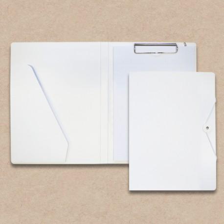 Werbeartikel: Schreib-mappen,=Schreibmappen aus Karton weiss mit Steckfach