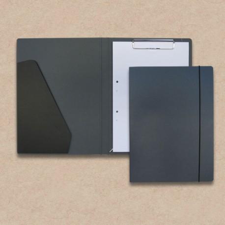 Werbeartikel: Schreib-mappen,=Schreibmappe aus Anthrazit-Karton mit Steckfach
