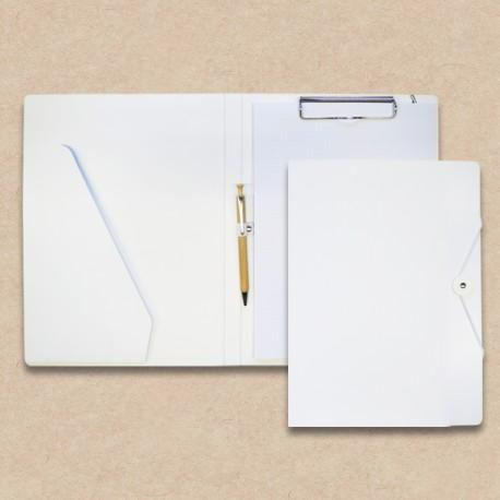Werbeartikel: Schreib-mappen,=Schreibmappen aus Karton mit Steckfach weiss mit Holz-kugelschreiber,