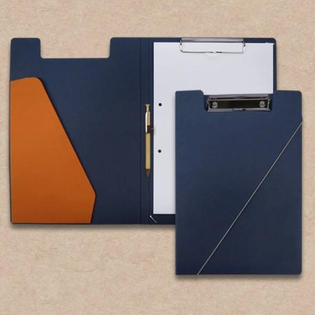 Werbeartikel: Klemmmappen=Klemm-mappen dunkelblau mit Steckfach orange und Holz-Kugelschreiber,
