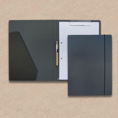 Werbeartikel: Schreib-mappen,=Schreibmappe aus Anthrazit-Karton mit Steckfach und Holz-kugelschreiber