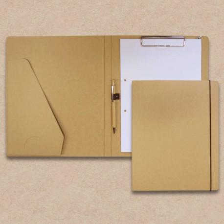 Werbeartikel: Schreib-mappen,=Schreibmappe in Karton-Optik mit Steckfach u. Holz-Kugelschreiber