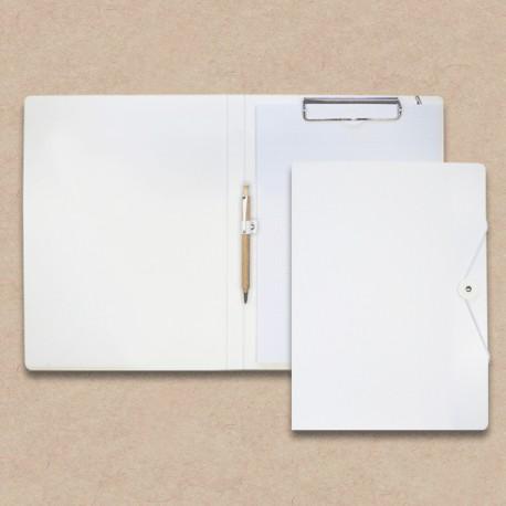 Werbeartikel: Schreib-mappen,=Schreibmappen aus Karton weiss mit Holz-kugelschreiber,