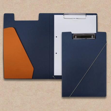 Werbeartikel: Klemmmappen=Klemmmappen  dunkelblau mit Steckfach orange