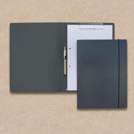 Werbeartikel: Schreib-mappen,=Schreibmappen aus Anthrazit-Karton mit Holz-kugelschreiber