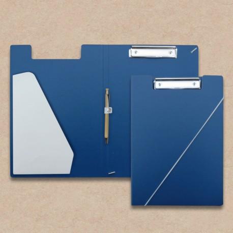 Werbeartikel: Klemmmappen=Klemmmappen Blau mit Steckfach weiss und Holz-kugelschreiber,