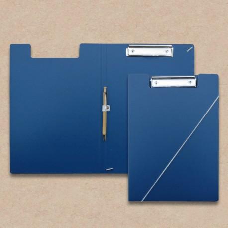 Werbeartikel: Klemmmappen=Klemm-mappe Blau mit Kugelschreiber aus Holz