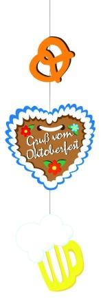 """Werbeartikel: Themendekoration Bayern ab Lager=Deckenhänger """"Brezel, Lebkuchenherz, Bierkrug"""""""