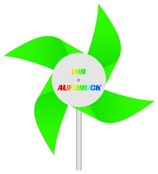 Werbeartikel: Windmühlen, Fahrrad-windmühlen,=Windmühlen aus Kunststoff grün