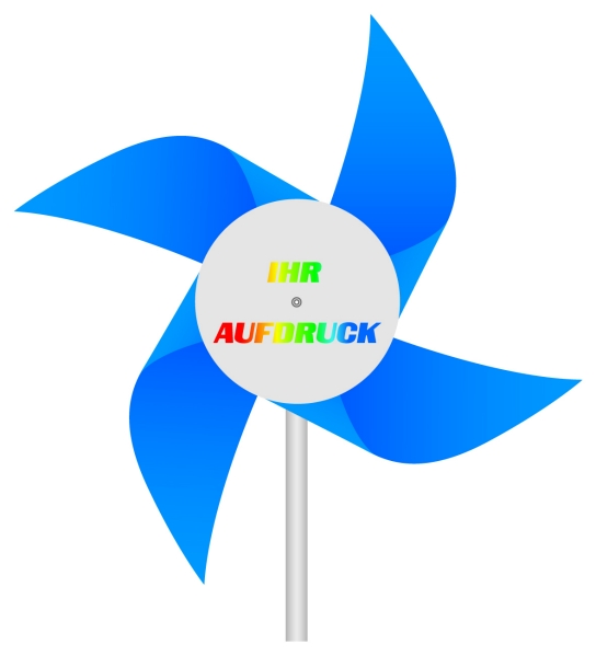 Werbeartikel: Windmühlen, Fahrrad-windmühlen,=Windmühlen aus Kunststoff blau,