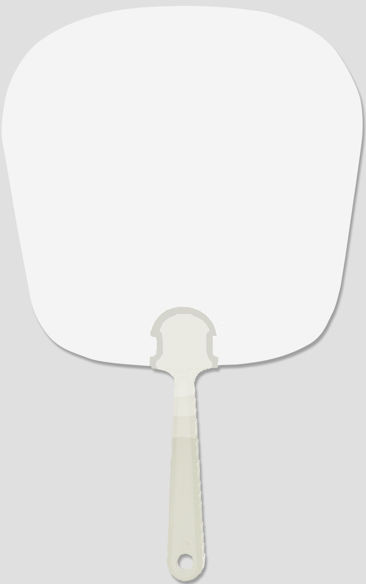 Werbeartikel: Weisse Artikel ab Lager=Weißer Handfächer mit Griff