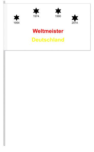 Werbeartikel: Papierfahnen, Fahnenständer=Weltmeister Deutschland,