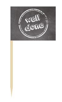 Werbeartikel: Minifahnen zur Speisenkennzeichnung=Minifähnchen well done