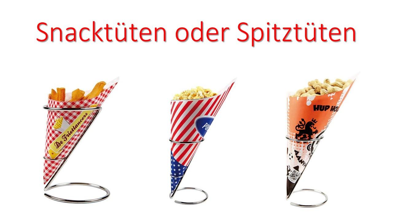 Werbeartikel: Partyartikel, Events-artikel,=Snacktüten, Spitztüten,