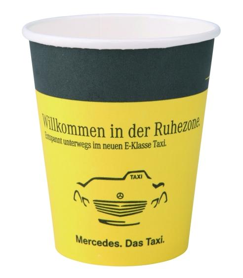 Werbeartikel: Becher mit Flexodrucken,=Kartontrink-becher mit Flexodruck,