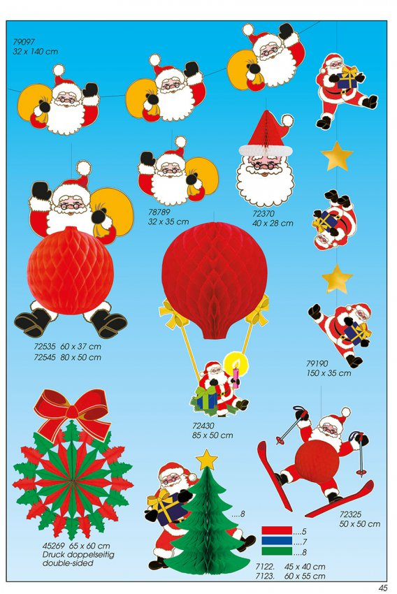 Werbeartikel: Weihnachten deko,=Papier Weihnachtsmann Deko,